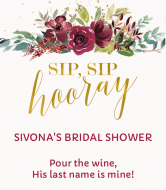 Wedding Wine Label - Sip Sip Hooray Bridal
