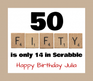 Birthday Beer Label - Scrabble Fifty