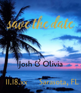 Wedding Champagne Label - Save The Date Sunset