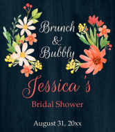 Wedding Wine Label - Watercolor Bridal Flowers