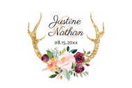 Wedding Large Wine Label - Floral Antlers