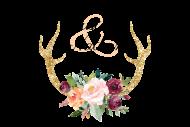 Wedding Mini Wine Label - Floral Antlers