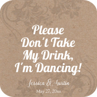 Wedding Drink Coaster - Kraft Paper Coaster