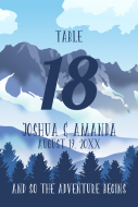 Wedding Table Number Label - Foggy Mountain Landscape