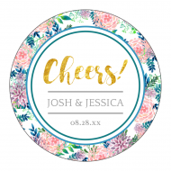 Wedding Label - Hand Painted Floral