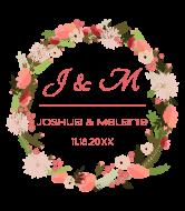 Wedding Wine Label - Floral Wreath