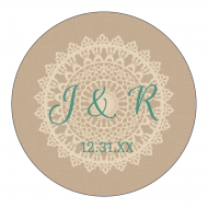 Wedding Label - Burlap and Lace