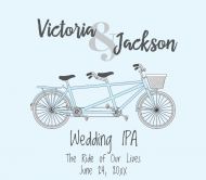 Wedding Beer Label - Bicycle for Two