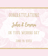Wedding Champagne Label - Pink Roses