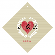 Wedding Wine Hang Tag - Kraft Paper Heart