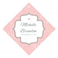 Wedding Wine Hang Tag - Pink and Gray