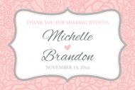 Wedding Mini Wine Label - Pink and Gray