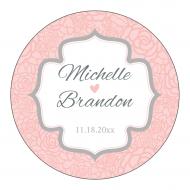 Wedding Sticker - Pink and Gray