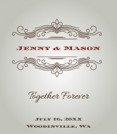 Wedding Wine Label - Vintage Scroll Frame