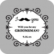Wedding Drink Coaster - Mustache