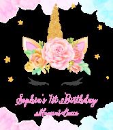 Birthday Wine Label - Floral Wreath Unicorn