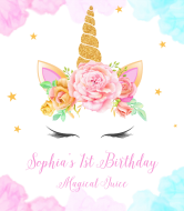 Birthday Champagne Label - Floral Wreath Unicorn
