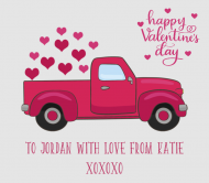 Holiday Beer Can Label - Valentine Retro Truck