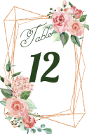 Wedding Table Number Label - Copper Geometric Watercolor Roses