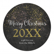 Holiday Label - Chalkboard Glitter Christmas
