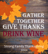 Holiday Wine Label - Rustic Wood and Leaves