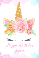 Birthday Gift Tag - Floral Wreath Unicorn