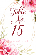 Wedding Table Number Label - Watercolor Geometric Frame