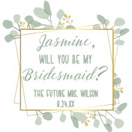 Wedding Mini Wine Label - Botanical Frame