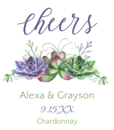 Wedding Champagne Label - Watercolor Succulents