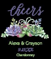 Wedding Wine Label - Watercolor Succulents