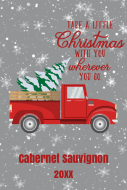 Holiday Large Wine Label - Retro Red Truck Christmas