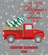 Holiday Wine Label - Retro Red Truck Christmas