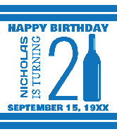 Birthday Wine Label - Happy 21