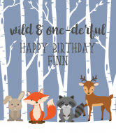 Birthday Wine Label - Woodland Creatures