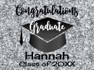 Graduations Soda Label - Graduation Silver Glitter