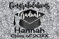 Graduations Mini Wine Label - Graduation Silver Glitter