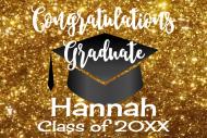 Graduations Mini Wine Label - Graduation Gold Glitter