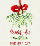 Holiday Wine Label - Under the Mistletoe