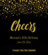 Celebration Wine Label - Cheers Gold Glitter