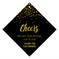 Celebration Wine Hang Tag - Cheers Gold Glitter