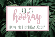 Birthday Mini Champagne Label - Sip Sip Hooray Birthday