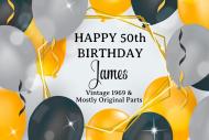 Birthday Mini Champagne Label - Black Balloons