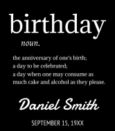 Birthday Wine Label - Birthday Dictionary