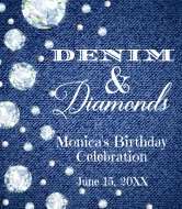 Birthday Champagne Label - Denim & Diamonds