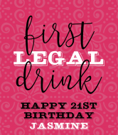 Birthday Champagne Label - First Legal Drink
