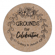 Wedding Sticker - Grounds for Celebration Coffee