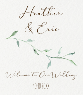 Wedding Champagne Label - Sage Leaves