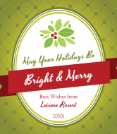 Holiday Wine Label - Bright and Merry