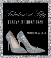 Birthday Liquor Label - Silver High Heels