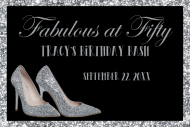 Birthday Mini Champagne Label - Silver High Heels